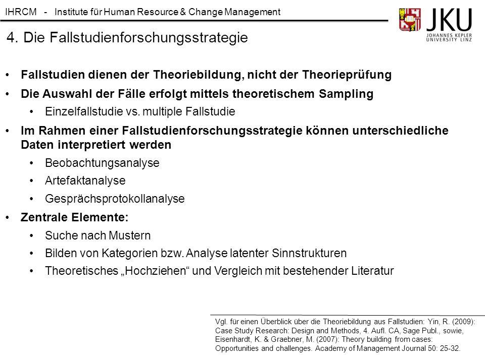 IHRCM - Institute für Human Resource & Change Management 4. Die Fallstudienforschungsstrategie Fallstudien dienen der Theoriebildung, nicht der Theori
