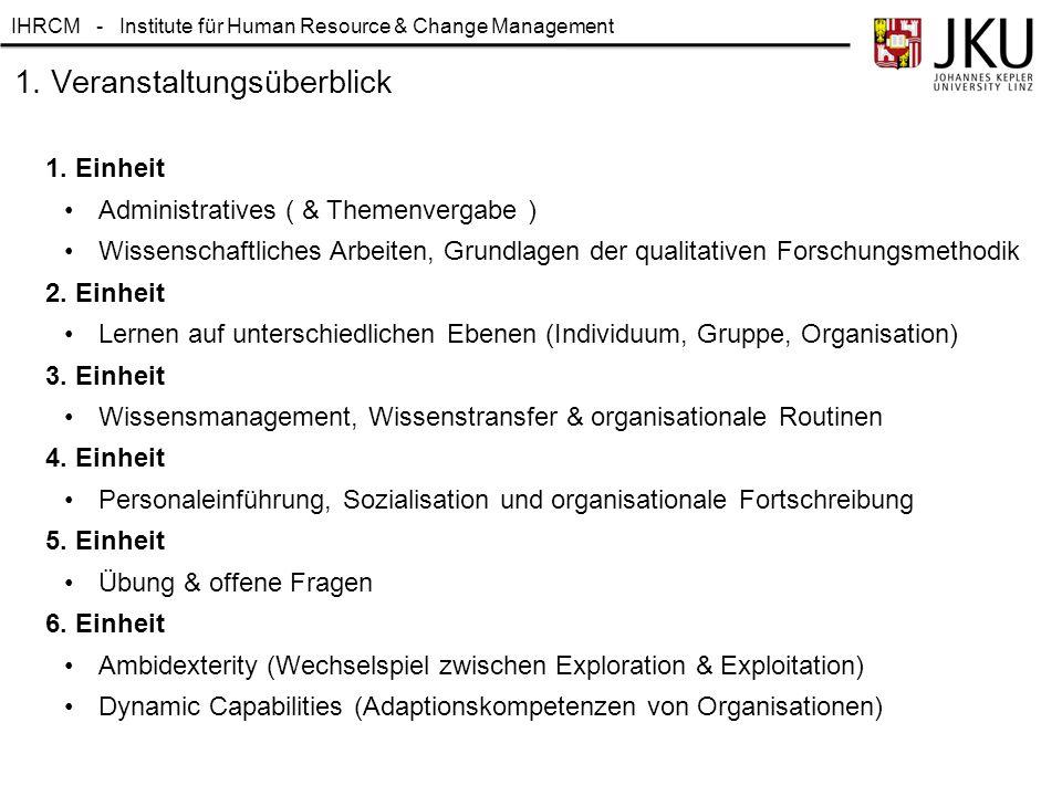 IHRCM - Institute für Human Resource & Change Management 1. Veranstaltungsüberblick 1. Einheit Administratives ( & Themenvergabe ) Wissenschaftliches