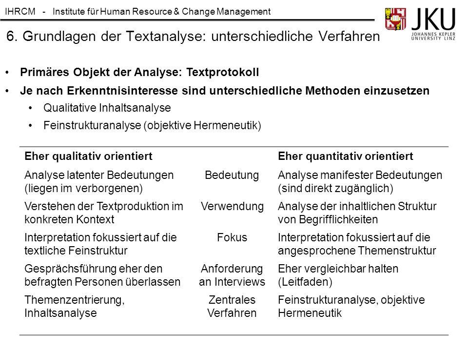 IHRCM - Institute für Human Resource & Change Management 6. Grundlagen der Textanalyse: unterschiedliche Verfahren Primäres Objekt der Analyse: Textpr
