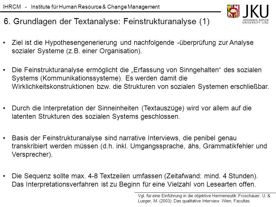 IHRCM - Institute für Human Resource & Change Management 6. Grundlagen der Textanalyse: Feinstrukturanalyse (1) Ziel ist die Hypothesengenerierung und