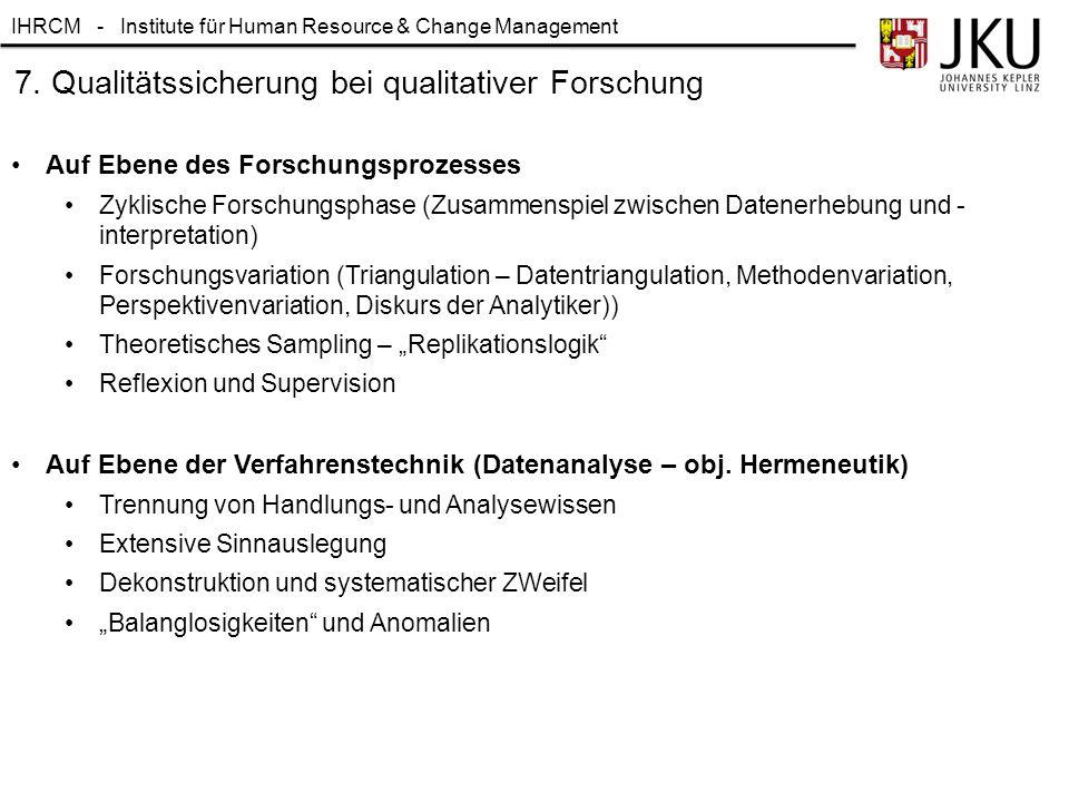 IHRCM - Institute für Human Resource & Change Management 7. Qualitätssicherung bei qualitativer Forschung Auf Ebene des Forschungsprozesses Zyklische