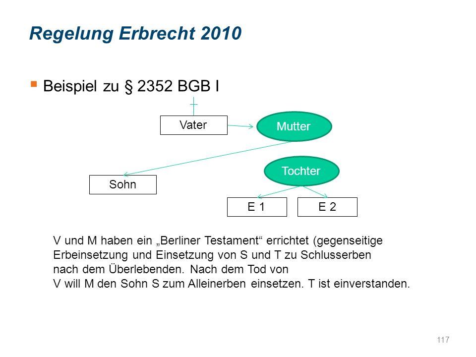 """ Beispiel zu § 2352 BGB I Vater Tochter E 1E 2 Sohn Mutter V und M haben ein """"Berliner Testament errichtet (gegenseitige Erbeinsetzung und Einsetzung von S und T zu Schlusserben nach dem Überlebenden."""