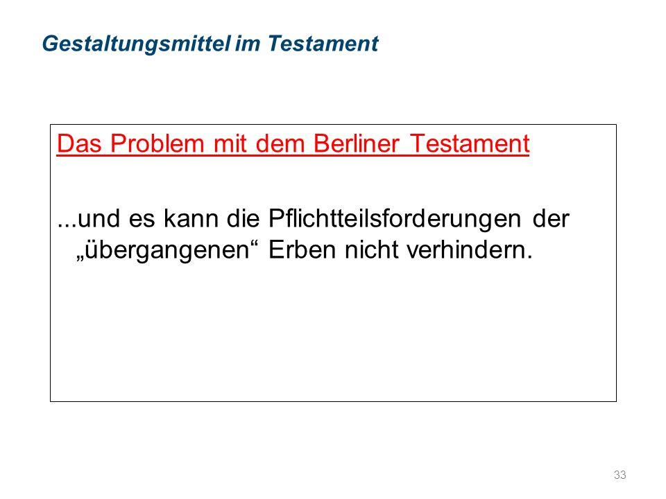 """Das Problem mit dem Berliner Testament...und es kann die Pflichtteilsforderungen der """"übergangenen Erben nicht verhindern."""