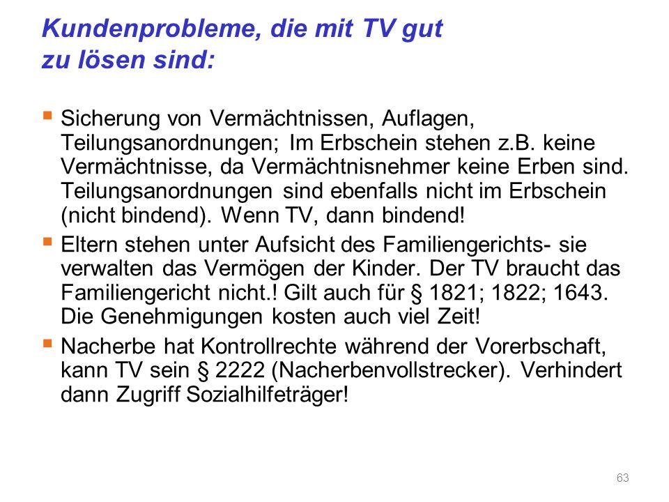 Kundenprobleme, die mit TV gut zu lösen sind:  Sicherung von Vermächtnissen, Auflagen, Teilungsanordnungen; Im Erbschein stehen z.B.