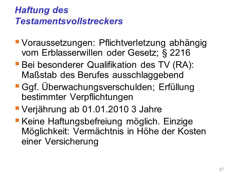 Haftung des Testamentsvollstreckers  Voraussetzungen: Pflichtverletzung abhängig vom Erblasserwillen oder Gesetz; § 2216  Bei besonderer Qualifikation des TV (RA): Maßstab des Berufes ausschlaggebend  Ggf.