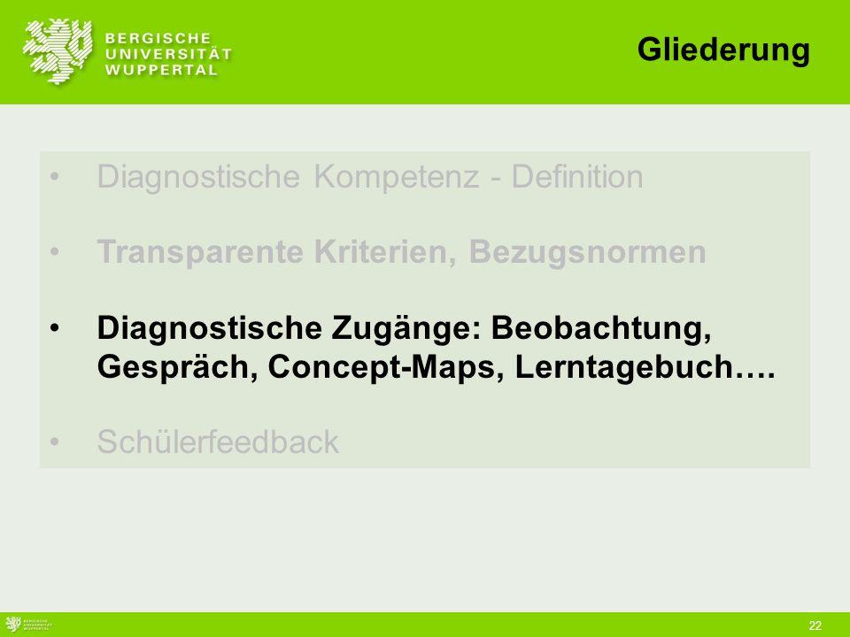 22 Diagnostische Kompetenz - Definition Transparente Kriterien, Bezugsnormen Diagnostische Zugänge: Beobachtung, Gespräch, Concept-Maps, Lerntagebuch….