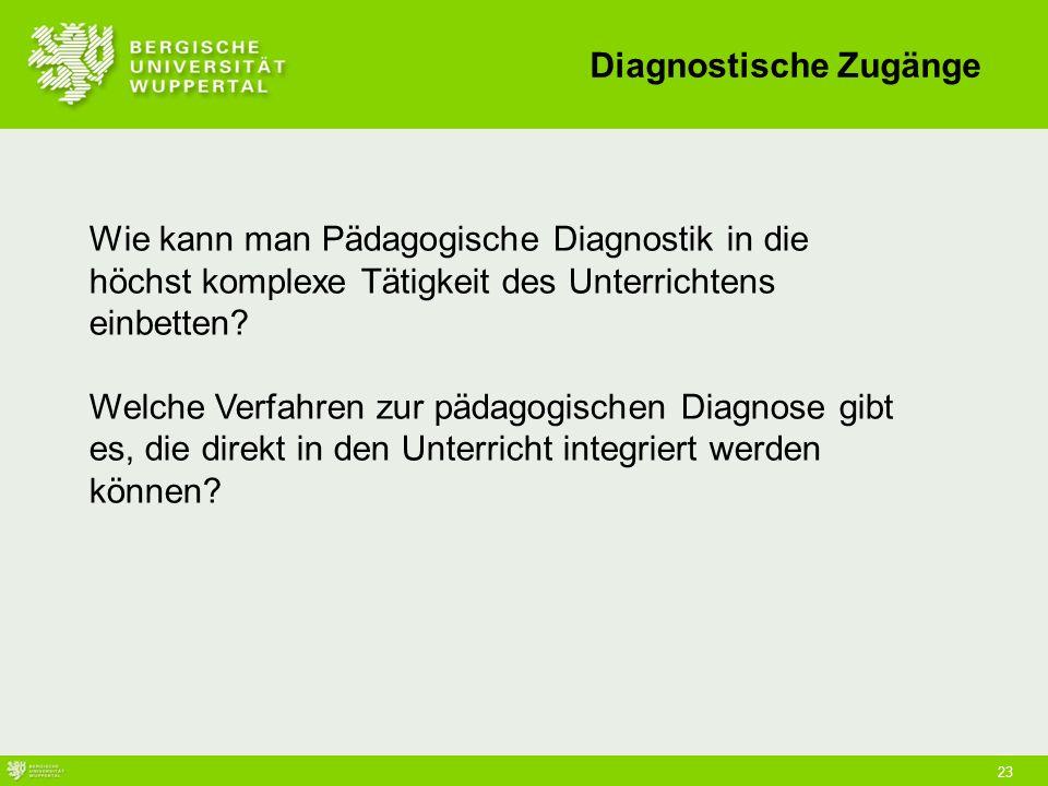 23 Wie kann man Pädagogische Diagnostik in die höchst komplexe Tätigkeit des Unterrichtens einbetten.