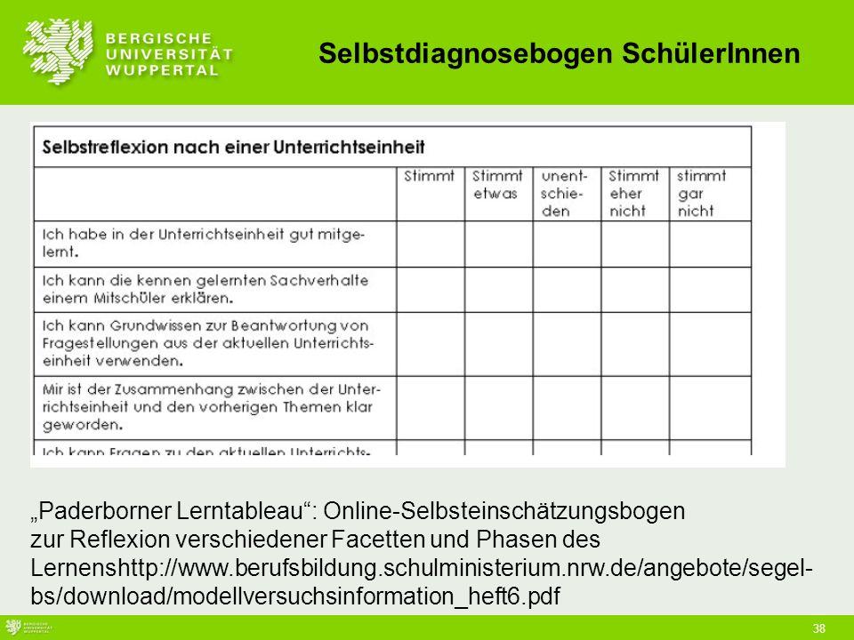 """38 Selbstdiagnosebogen SchülerInnen """"Paderborner Lerntableau : Online-Selbsteinschätzungsbogen zur Reflexion verschiedener Facetten und Phasen des Lernenshttp://www.berufsbildung.schulministerium.nrw.de/angebote/segel- bs/download/modellversuchsinformation_heft6.pdf"""