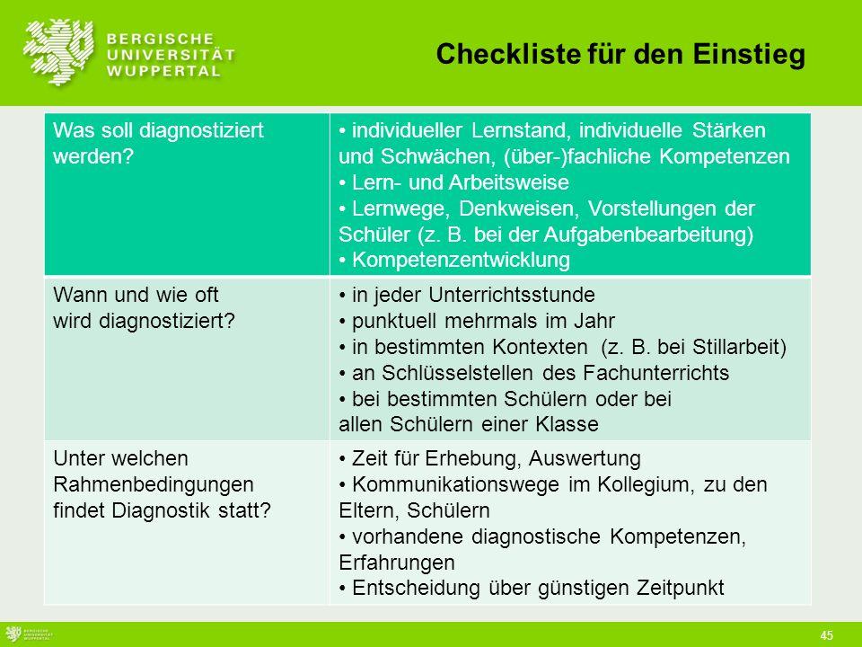 45 Checkliste für den Einstieg Was soll diagnostiziert werden.