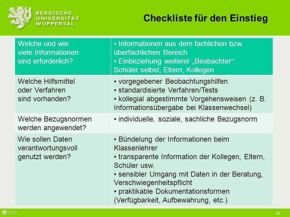 46 Checkliste für den Einstieg Welche und wie viele Informationen sind erforderlich.