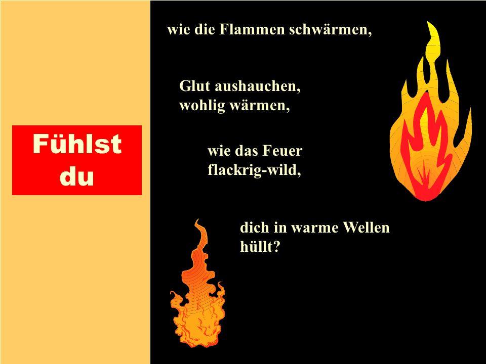 26.04.1999Gerald Kiefer15 Fühlst du wie die Flammen schwärmen, Glut aushauchen, wohlig wärmen, dich in warme Wellen hüllt? wie das Feuer flackrig-wild
