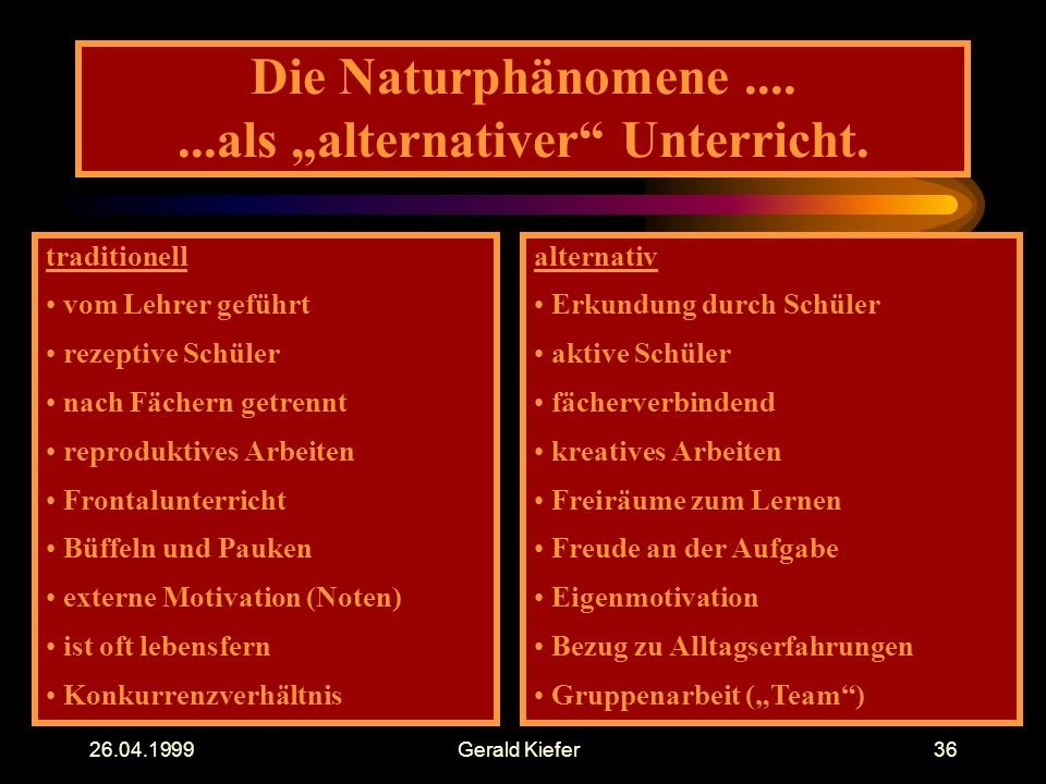 "Gerald Kiefer36 Die Naturphänomene als ""alternativer Unterricht."