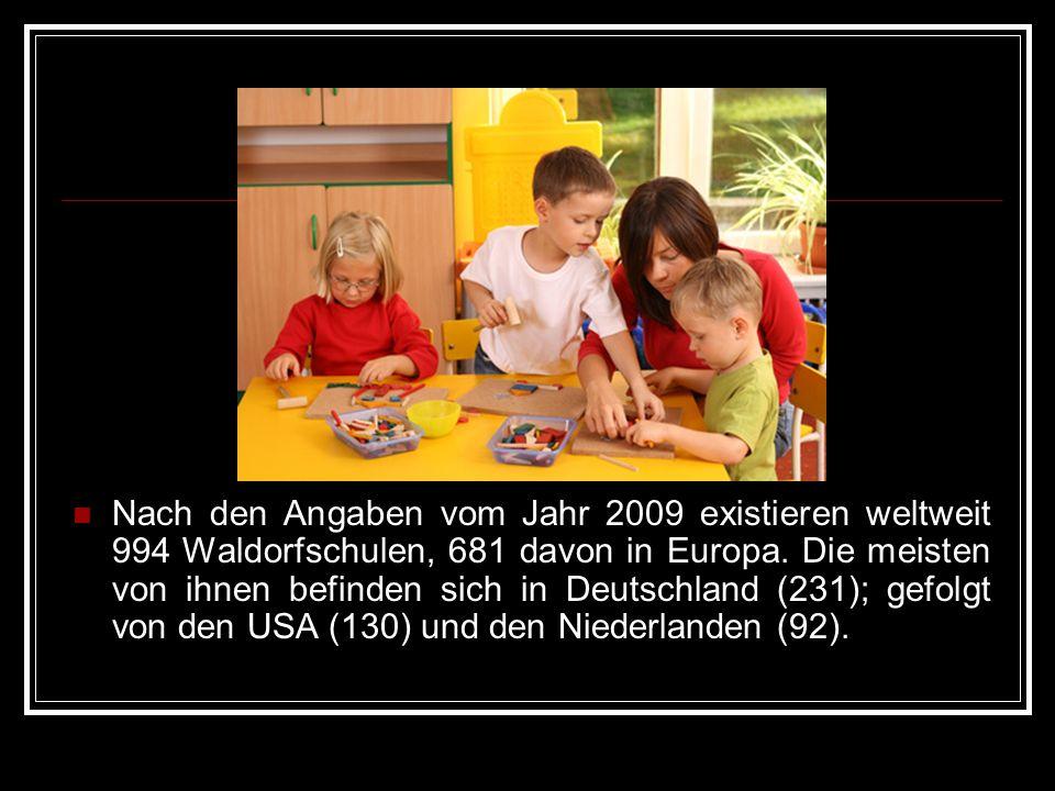 Nach den Angaben vom Jahr 2009 existieren weltweit 994 Waldorfschulen, 681 davon in Europa. Die meisten von ihnen befinden sich in Deutschland (231);