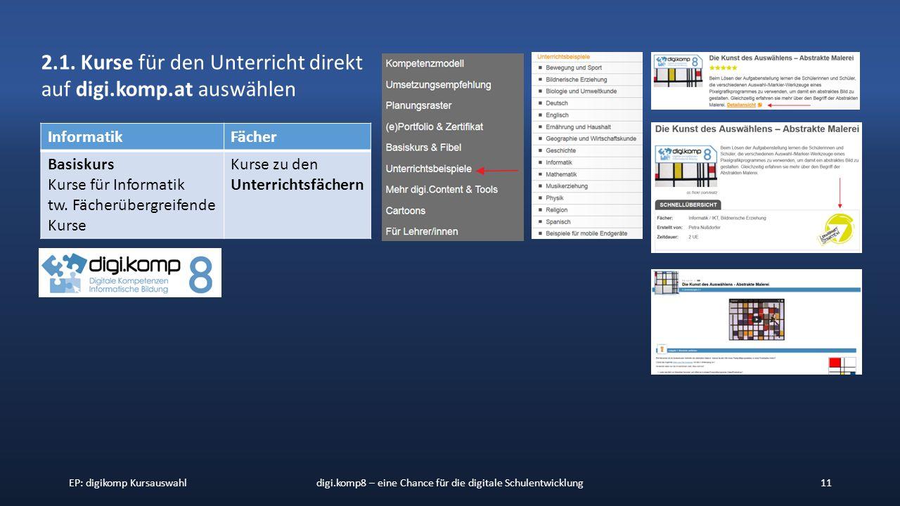 EP: digikomp Kursauswahldigi.komp8 – eine Chance für die digitale Schulentwicklung11 2.1.