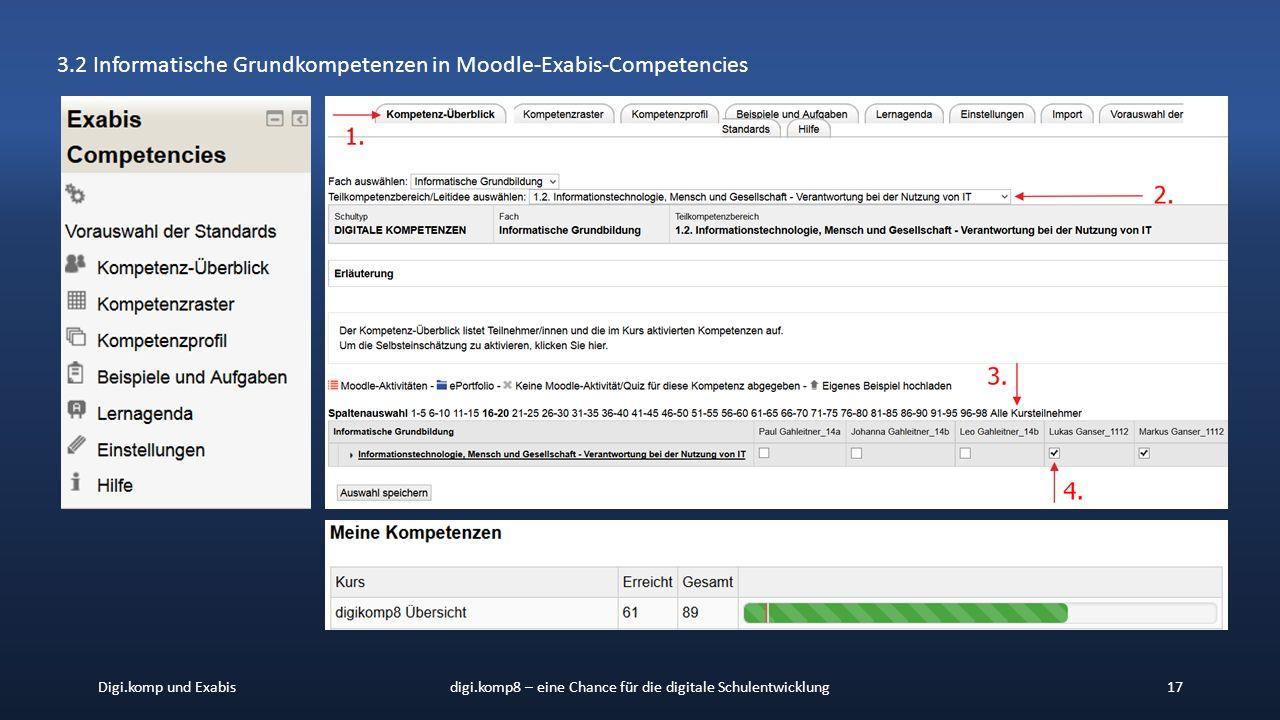 Digi.komp und Exabisdigi.komp8 – eine Chance für die digitale Schulentwicklung17 3.2 Informatische Grundkompetenzen in Moodle-Exabis-Competencies
