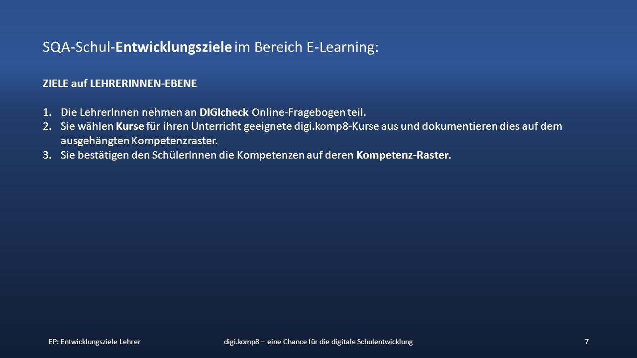 EP: Entwicklungsziele Lehrerdigi.komp8 – eine Chance für die digitale Schulentwicklung7 SQA-Schul-Entwicklungsziele im Bereich E-Learning: ZIELE auf LEHRERINNEN-EBENE 1.Die LehrerInnen nehmen an DIGIcheck Online-Fragebogen teil.