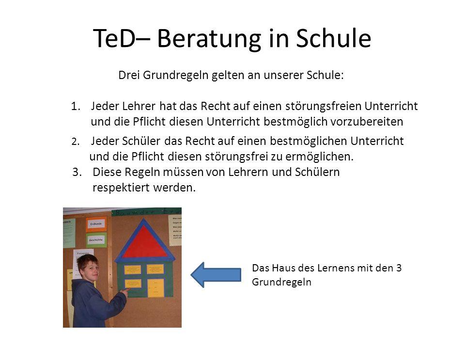 TeD– Beratung in Schule Drei Grundregeln gelten an unserer Schule: 1. Jeder Lehrer hat das Recht auf einen störungsfreien Unterricht und die Pflicht d