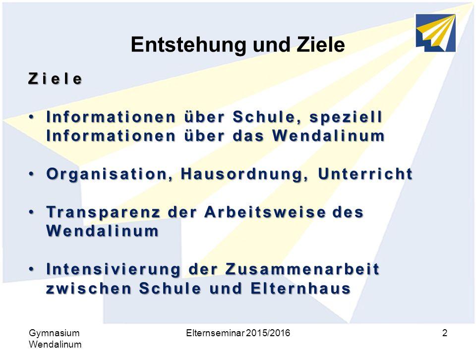 Entstehung und Ziele Gymnasium Wendalinum Elternseminar 2015/20162 Ziele Informationen über Schule, speziell Informationen über das WendalinumInformat