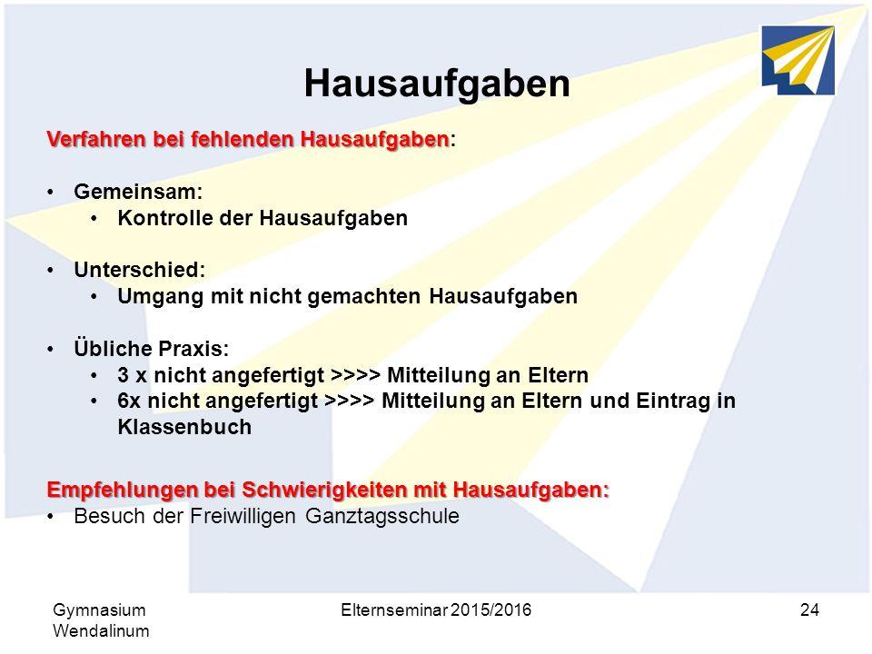 Hausaufgaben Gymnasium Wendalinum Elternseminar 2015/201624 Verfahren bei fehlenden Hausaufgaben Verfahren bei fehlenden Hausaufgaben: Gemeinsam: Kont