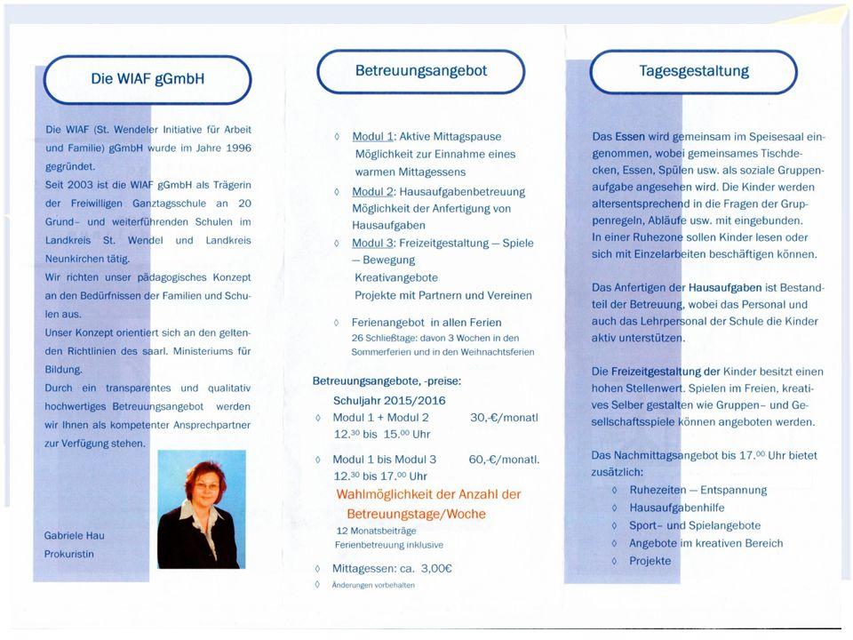 Freiwillige Ganztagsschule Gymnasium Wendalinum Elternseminar 2015/201626