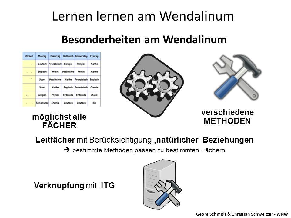 """Besonderheiten am Wendalinum Lernen lernen am Wendalinum Leitfächer mit Berücksichtigung """"natürlicher"""" Beziehungen  bestimmte Methoden passen zu best"""