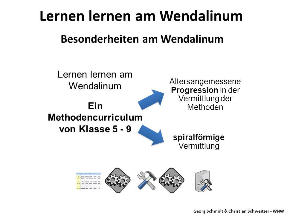 Besonderheiten am Wendalinum Lernen lernen am Wendalinum spiralförmige Vermittlung Lernen lernen am Wendalinum Ein Methodencurriculum von Klasse 5 - 9
