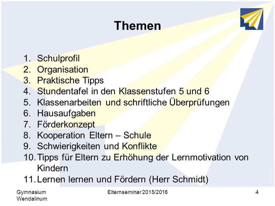 Themen Gymnasium Wendalinum Elternseminar 2015/20164 1.Schulprofil 2.Organisation 3.Praktische Tipps 4.Stundentafel in den Klassenstufen 5 und 6 5.Kla