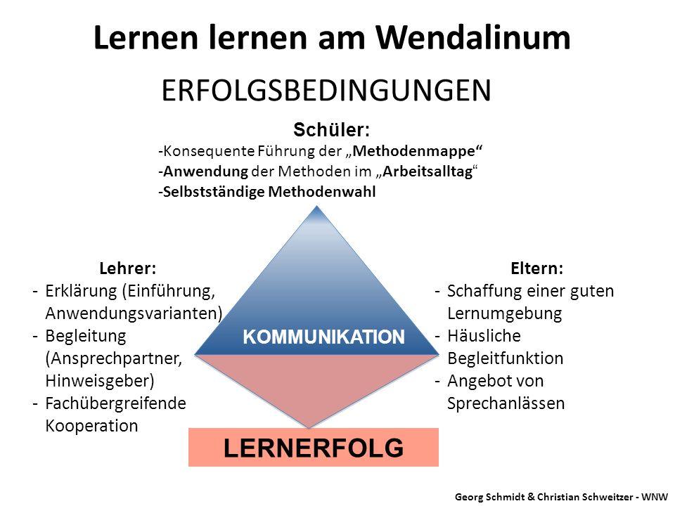 """Lernen lernen am Wendalinum ERFOLGSBEDINGUNGEN Schüler: -Konsequente Führung der """"Methodenmappe"""" -Anwendung der Methoden im """"Arbeitsalltag"""" -Selbststä"""