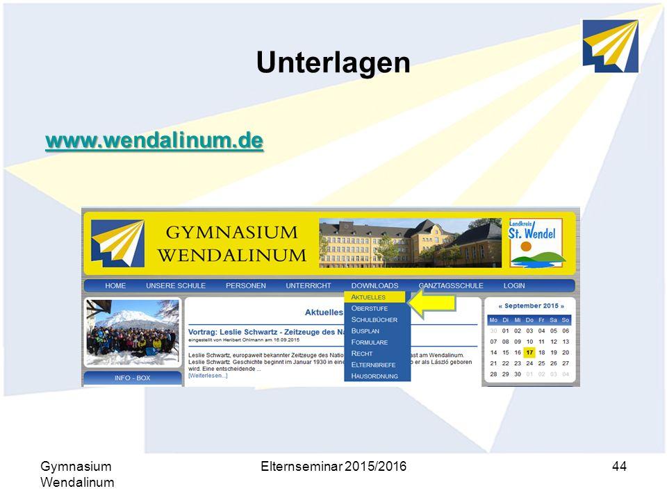 Unterlagen Gymnasium Wendalinum Elternseminar 2015/201644 www.wendalinum.de