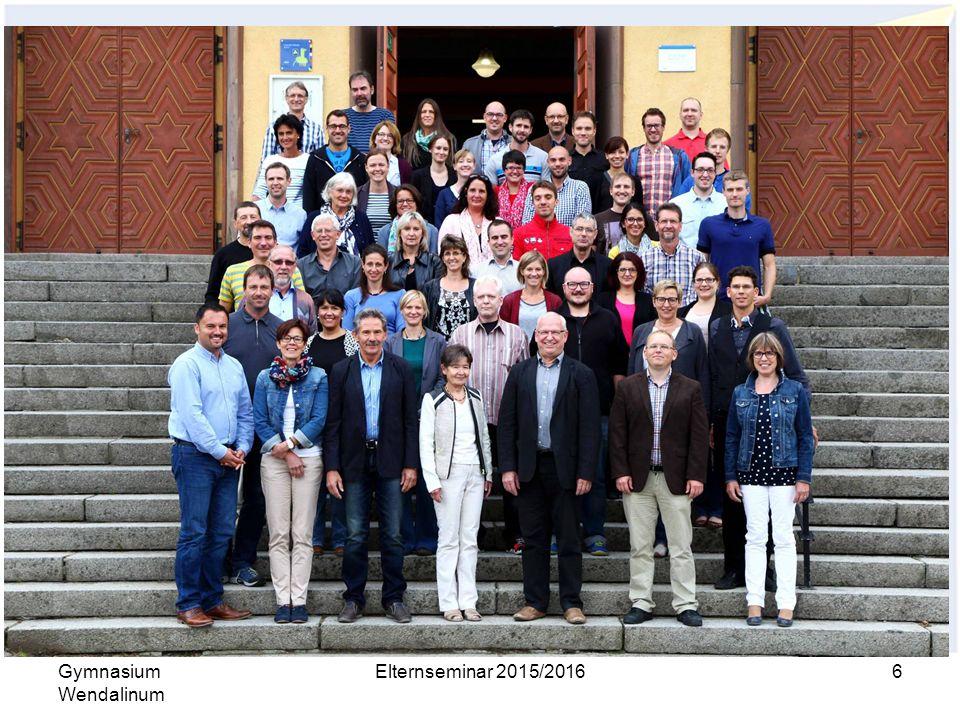 Organisation Gymnasium Wendalinum Elternseminar 2015/20166 Kollegium