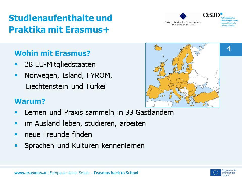 www.erasmus.at | Europa an deiner Schule – Erasmus back to School 4 Studienaufenthalte und Praktika mit Erasmus+ Wohin mit Erasmus?  28 EU-Mitgliedst