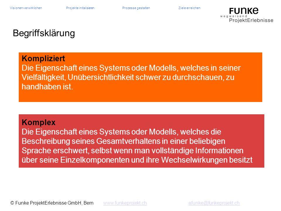 Visionen verwirklichenProjekte initalisierenProzesse gestaltenZiele erreichen © Funke ProjektErlebnisse GmbH, Bern www.funkeprojekt.chafunke@funkeproj
