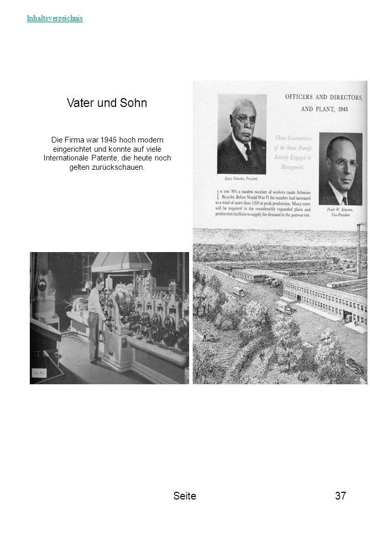 Seite37 Vater und Sohn Die Firma war 1945 hoch modern eingerichtet und konnte auf viele Internationale Patente, die heute noch gelten zurückschauen. I