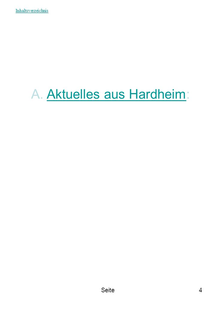 Seite4 A. A. Aktuelles aus Hardheim:Aktuelles aus Hardheim Inhaltsverzeichnis