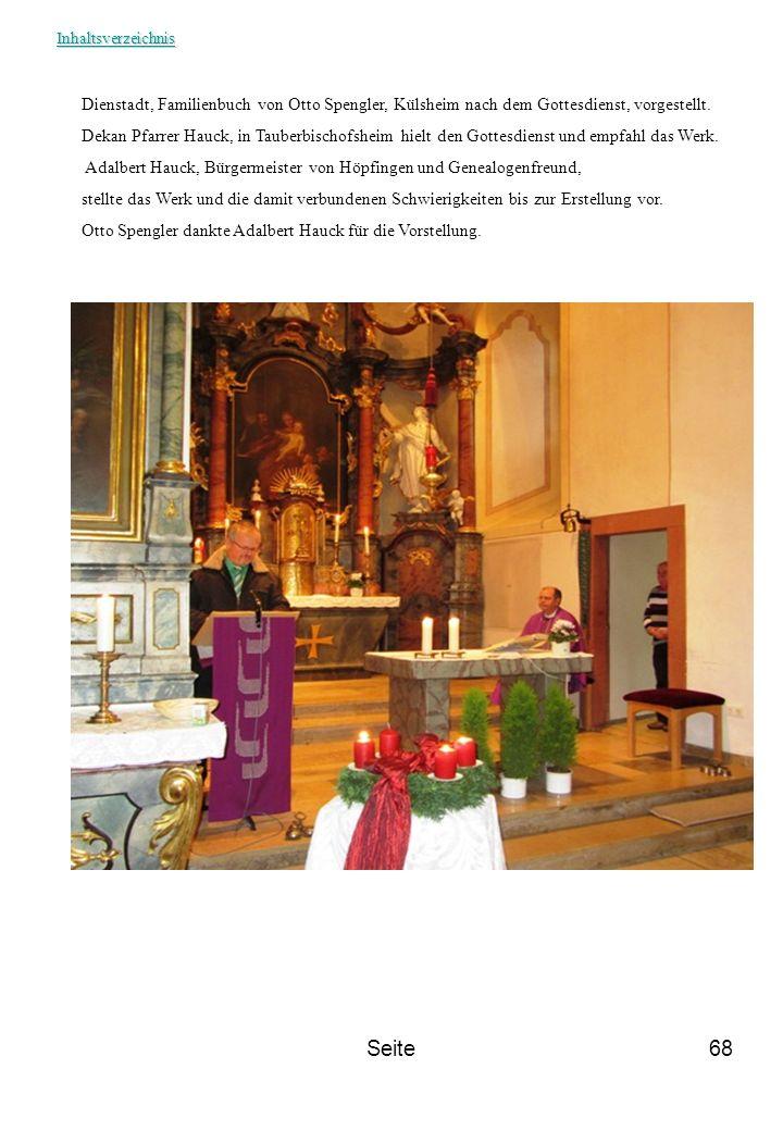 Seite68 Dienstadt, Familienbuch von Otto Spengler, Külsheim nach dem Gottesdienst, vorgestellt. Dekan Pfarrer Hauck, in Tauberbischofsheim hielt den G