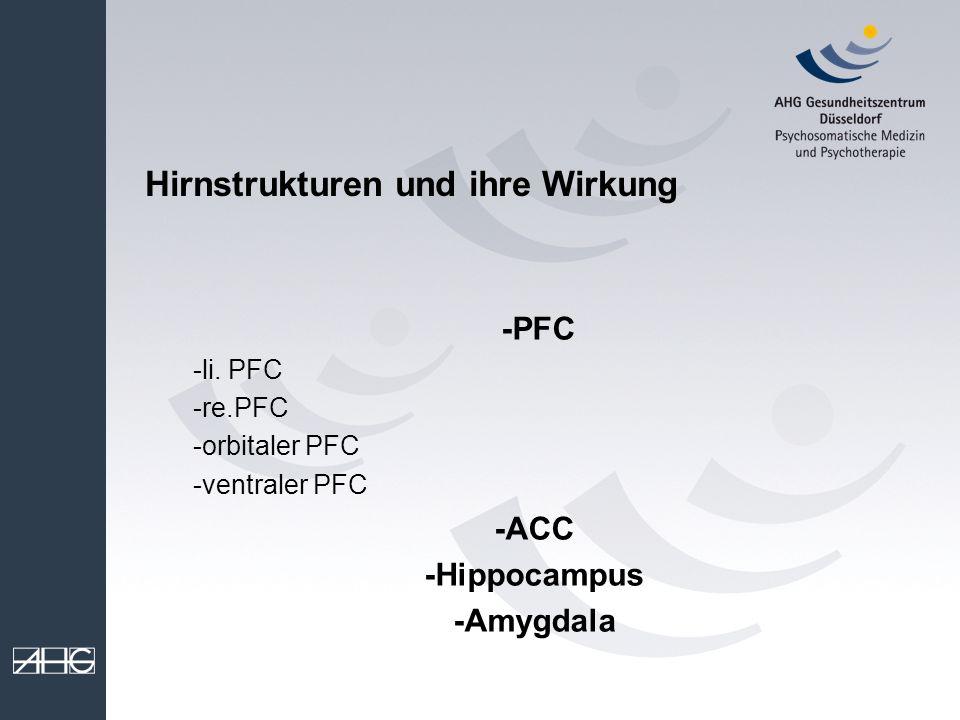 Hirnstrukturen und ihre Wirkung -PFC -li. PFC -re.PFC -orbitaler PFC -ventraler PFC -ACC -Hippocampus -Amygdala