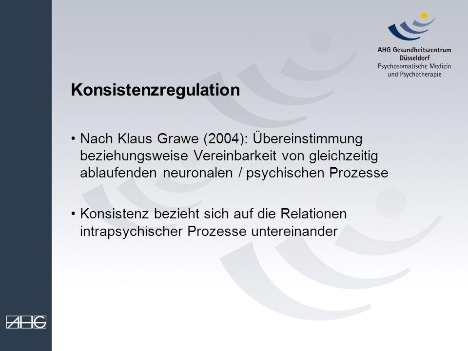 Konsistenzregulation Nach Klaus Grawe (2004): Übereinstimmung beziehungsweise Vereinbarkeit von gleichzeitig ablaufenden neuronalen / psychischen Proz