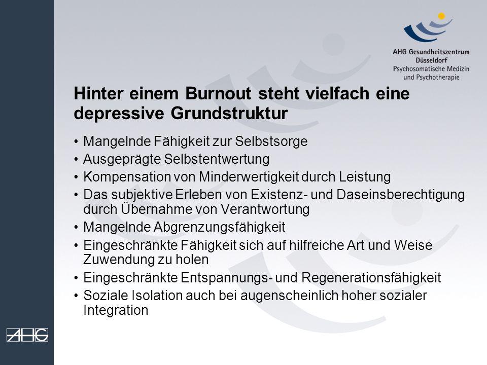 Hinter einem Burnout steht vielfach eine depressive Grundstruktur Mangelnde Fähigkeit zur Selbstsorge Ausgeprägte Selbstentwertung Kompensation von Mi
