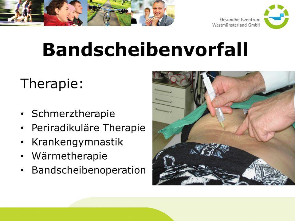 Bandscheibenvorfall Therapie: Schmerztherapie Periradikuläre Therapie Krankengymnastik Wärmetherapie Bandscheibenoperation
