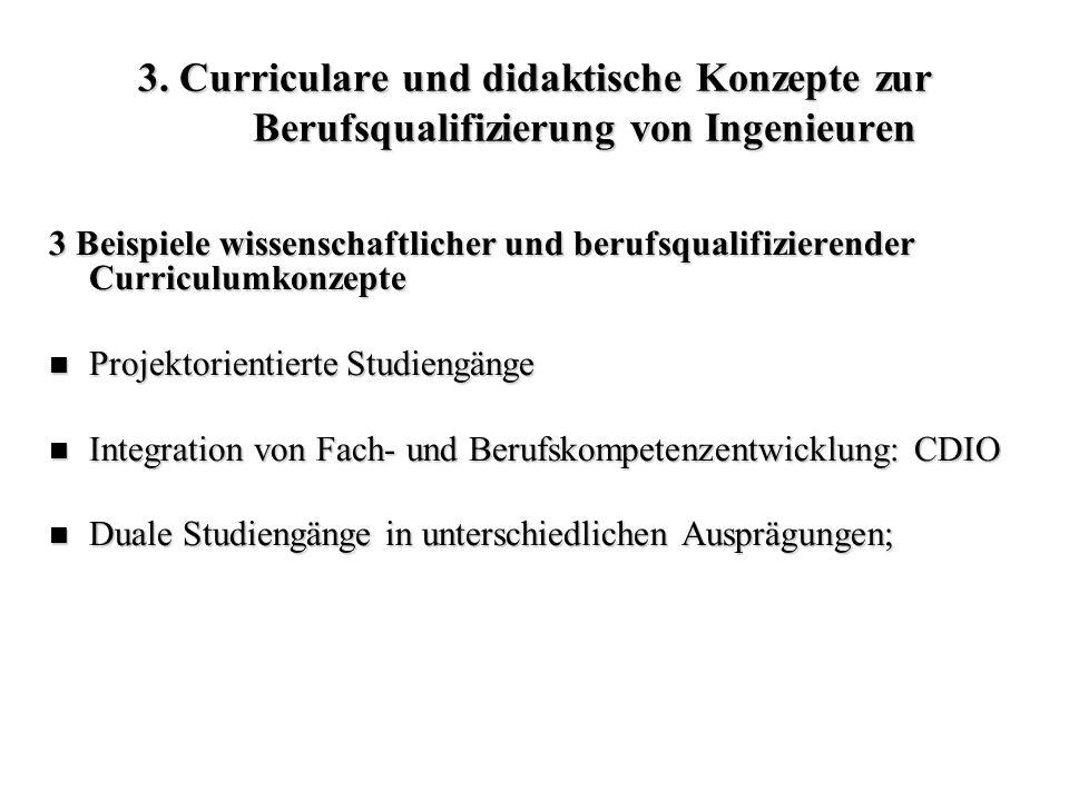 3. Curriculare und didaktische Konzepte zur Berufsqualifizierung von Ingenieuren 3 Beispiele wissenschaftlicher und berufsqualifizierender Curriculumk