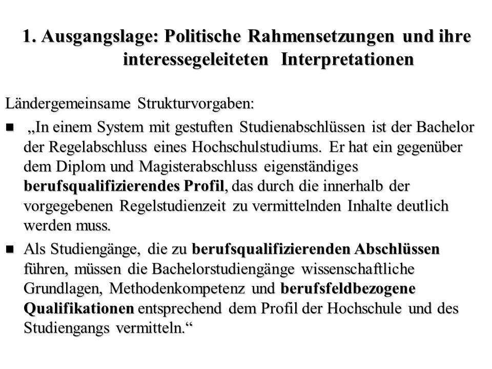 """1. Ausgangslage: Politische Rahmensetzungen und ihre interessegeleiteten Interpretationen Ländergemeinsame Strukturvorgaben: """"In einem System mit gest"""