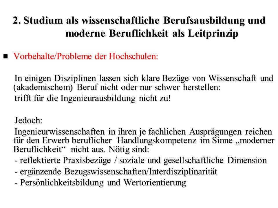 2. Studium als wissenschaftliche Berufsausbildung und moderne Beruflichkeit als Leitprinzip Vorbehalte/Probleme der Hochschulen: Vorbehalte/Probleme d