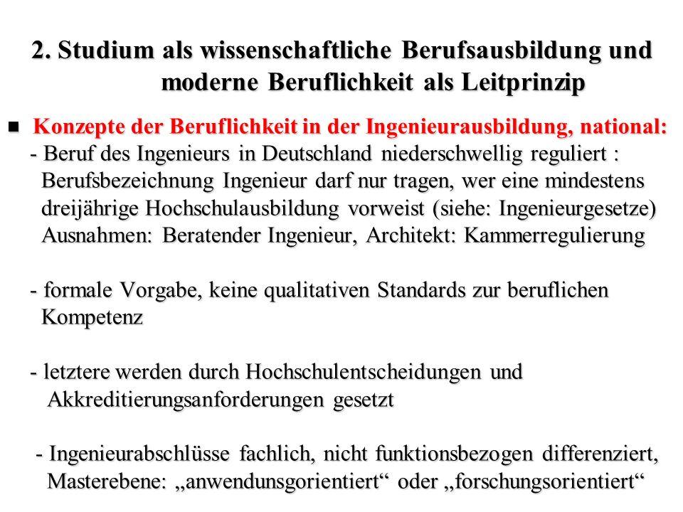 2. Studium als wissenschaftliche Berufsausbildung und moderne Beruflichkeit als Leitprinzip Konzepte der Beruflichkeit in der Ingenieurausbildung, nat