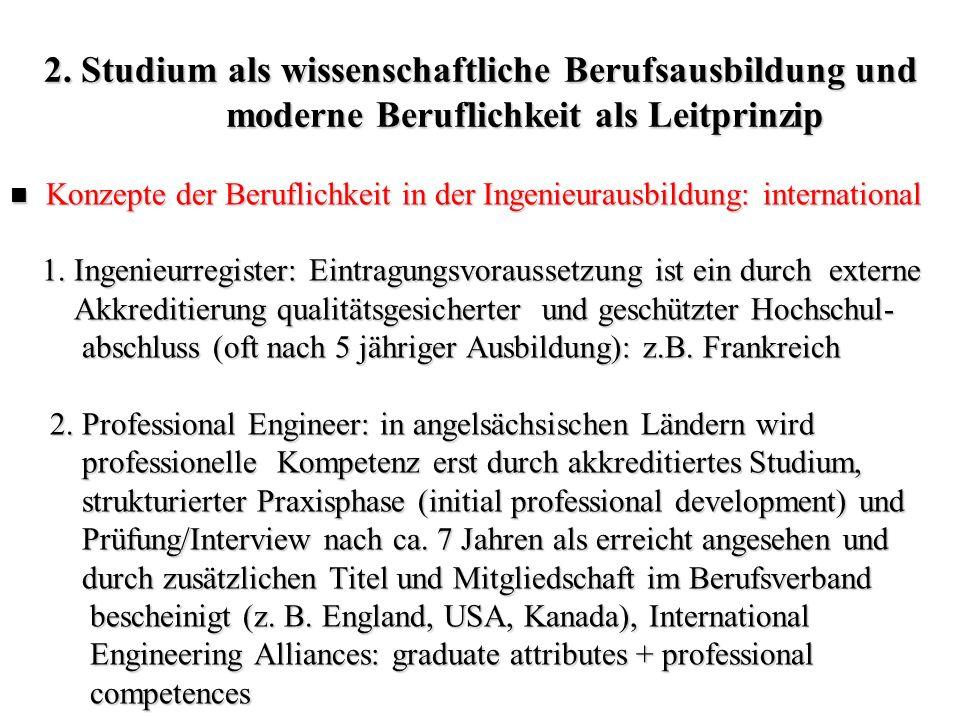 2. Studium als wissenschaftliche Berufsausbildung und moderne Beruflichkeit als Leitprinzip Konzepte der Beruflichkeit in der Ingenieurausbildung: int