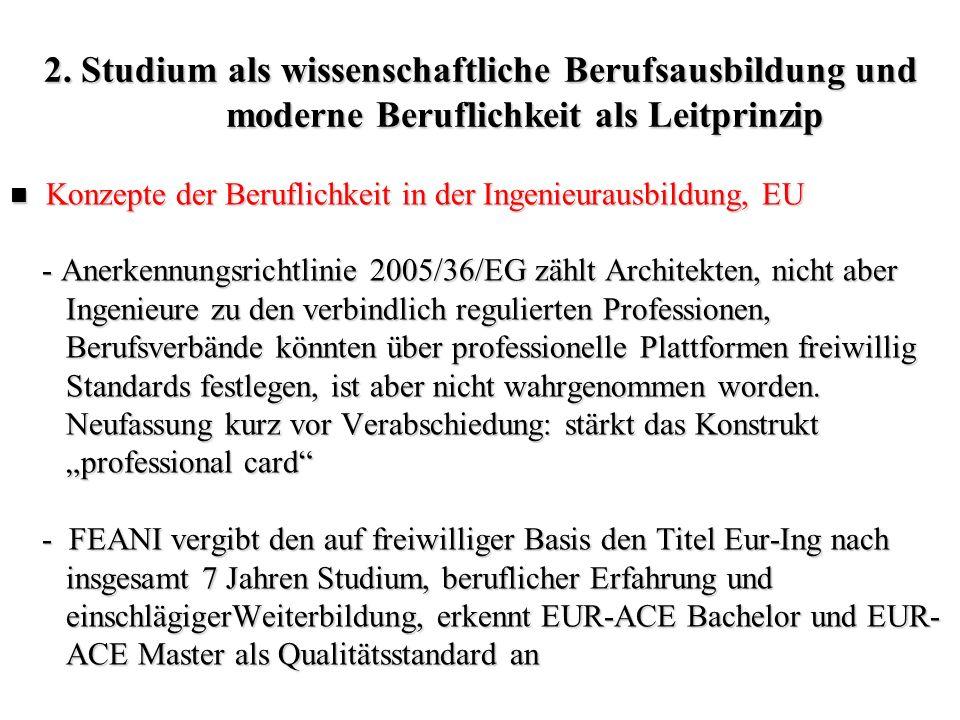 2. Studium als wissenschaftliche Berufsausbildung und moderne Beruflichkeit als Leitprinzip Konzepte der Beruflichkeit in der Ingenieurausbildung, EU