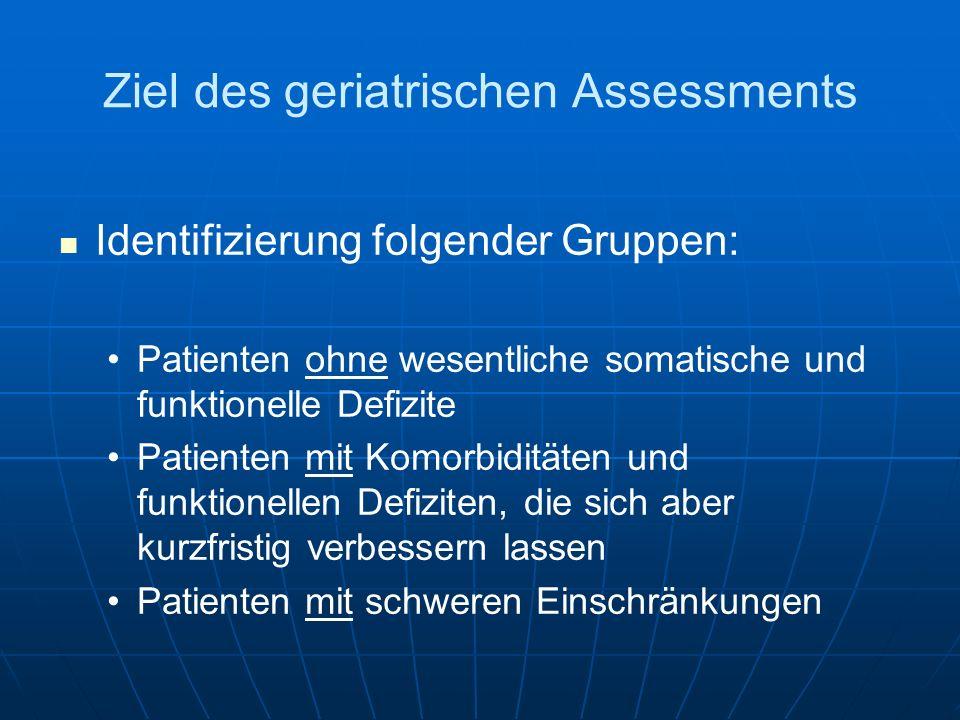 Ziel des geriatrischen Assessments Identifizierung folgender Gruppen: Patienten ohne wesentliche somatische und funktionelle Defizite Patienten mit Ko