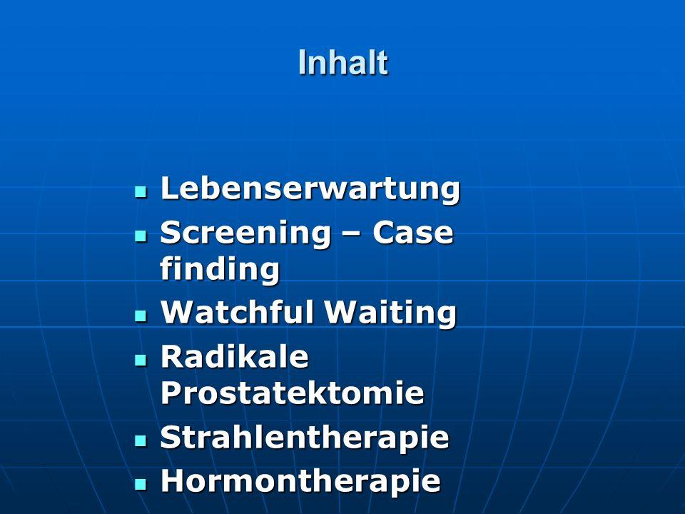 Inhalt Lebenserwartung Lebenserwartung Screening – Case finding Screening – Case finding Watchful Waiting Watchful Waiting Radikale Prostatektomie Rad