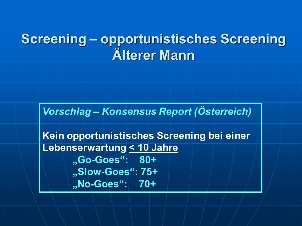 Screening – opportunistisches Screening Älterer Mann Vorschlag – Konsensus Report (Österreich) Kein opportunistisches Screening bei einer Lebenserwart