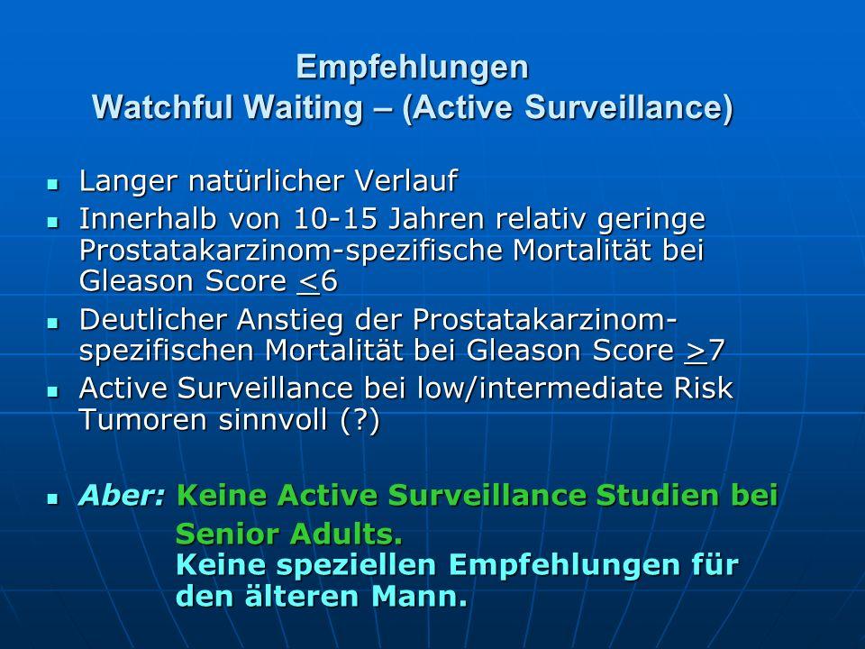 Empfehlungen Watchful Waiting – (Active Surveillance) Langer natürlicher Verlauf Langer natürlicher Verlauf Innerhalb von 10-15 Jahren relativ geringe