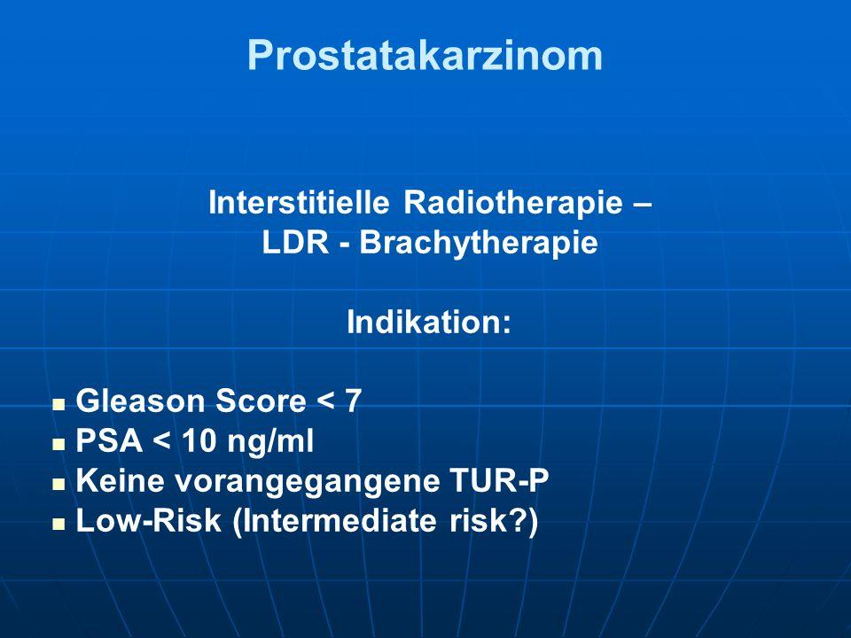 Prostatakarzinom Interstitielle Radiotherapie – LDR - Brachytherapie Indikation: Gleason Score < 7 PSA < 10 ng/ml Keine vorangegangene TUR-P Low-Risk
